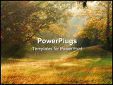 PowerPoint Template - fog on a fall morning in rural tennessee creating sun rays.