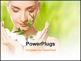 PowerPoint Template - Beautiful young woman holding plant growing up through stones