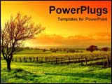 PowerPoint Template - sunset with vineyard scenery