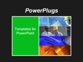 PowerPoint Template - his black and light green template with blue prints, a hammer, and men in hard hats is ideal for pr
