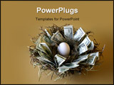 PowerPoint Template - money lines the nest of this not-yet-hatched egg against a gold background