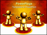 PowerPoint Template - 3D gold business figures forming network structures