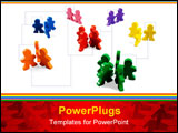 PowerPoint Template - Business concepts illustrated with colorful wooden people - networking