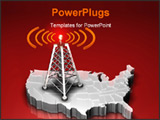 PowerPoint Template - d illustration of a radio antenna with glowing orange signal waves sitting on top of a map of the U