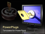 PowerPoint Template - 3d illustration of a key unlocking a workstation