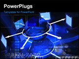 PowerPoint Template - Digital illustration of network with monitor in blue colour