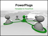 PowerPoint Template - 3d image of virtual men on network connection