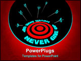 PowerPoint Template - Many arrows miss a bulls-eye surrounded by the words Never Give Up