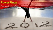 PowerPoint Template - happy new year 2011 on the beach of sunrise . young man handstand and celebarte .