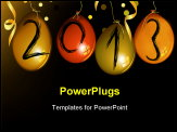 PowerPoint Template - New Year background with balloons, confetti and ribbons.