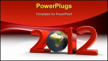 PowerPoint Template - 3d illustartion of our planet in the new year 2012 on a white background