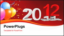PowerPoint Template - 3d Happy New Year 2012 on white background