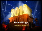 PowerPoint Template - New Year 2012 celebration concept, shiny golden 2012 on pedestal in a snowy weather