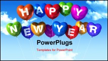 PowerPoint Template - colored Happy new year heart shaped balloons floating in a blue sky