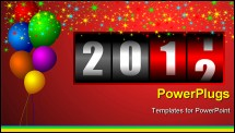 PowerPoint Template - new year illustartion with stars and balloons and counter