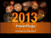 PowerPoint Template - 2013 new year celebration with fireworks