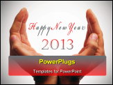 PowerPoint Template - happy new year with hands forming a cup