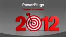 PowerPoint Template - Next New Year 2012 whit a red and target and dart - 3d render business concept