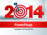 PowerPoint Template - New Year 2011 whit a red and target and dart - 3d render business concept