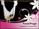 PowerPoint Template - ewborn baby sleeping on its stomach looking very peaceful lying in a white hammock made out of cott