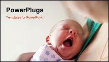 PowerPoint Template - Little newborn girl lying on her mother