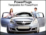 PowerPoint Template - Couple stand with their new car.