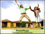 PowerPoint Template - Married couple jumps into air ecstatically over puchase of new home.