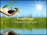 PowerPoint Template - Plant in hand over blue sky. New life concept