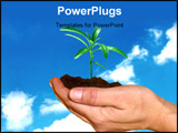 PowerPoint Template - hands holding a small plant against blue sky