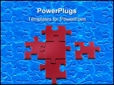 PowerPoint Template - 5 purple puzzle pieces 4 are linked one is going to be joined