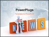 PowerPoint Template - a 3d concept of news and communication