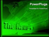 PowerPoint Template - 3d concept of green news and map under light