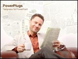 PowerPoint Template - Man reads the newspaper in his leather sofa.