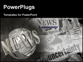 PowerPoint Template - various torn newspaper headlines showing economic concepts