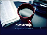 PowerPoint Template - Coffee in cup is reflecting office lighting with newspaper and stapler out of focus.