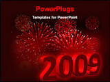 PowerPoint Template - Abstract vector illustration of red fireworks for new year 2009 celebration