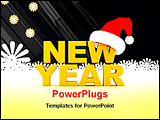 PowerPoint Template - illustrated image of new year and a cap
