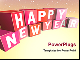 PowerPoint Template - Happy New Year inscription made of colour bricks