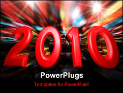 PowerPoint Template - A New Year celebration background 2010 with fireworks on a perspective horizon.