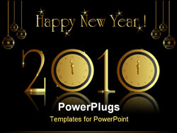 PowerPoint Template - 2010 new year card with midnight clock.