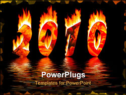 PowerPoint Template - 2010 new year numbers in fire reflected water