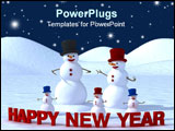 PowerPoint Template - Happy new year from happy family of snowman