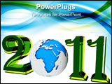 PowerPoint Template - Blue earth forming with text another year 2011