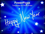 PowerPoint Template - happy new year illustration with blue sunburst and stars
