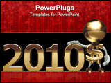 PowerPoint Template - Mr. dollar in new 2010, isolated on a white background