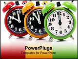 PowerPoint Template - timing red yellow and green alarm clock untill twelve oclock closeup