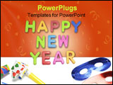 PowerPoint Template - Happy New Year and Party Favors on Plain Background