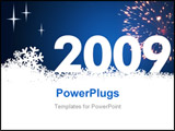 PowerPoint Template - New Year 2009 and a white snow background