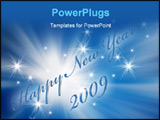PowerPoint Template - Happy New Year 2009 greetings in blue