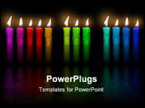 PowerPoint Template - color candles with Happy New Year letters inside flooding in water